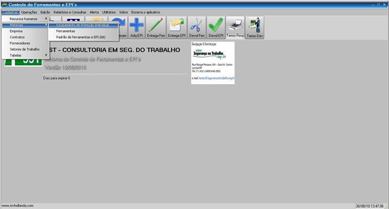 60c5ae828dda2 O sistema permite um cadastro detalhado do EPI (nome, código de barras, CA,  tipo, vida útil, unidade, valor, fornecedor, consulta CA, etc. O módulo ...
