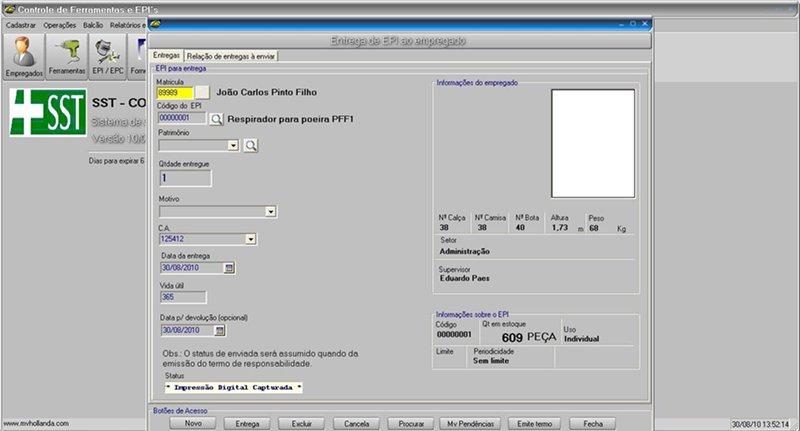 a725eca9e2d52 O sistema permite também o estorno e devolução do EPI Ferramenta. Tudo fica  arquivado no sistema.